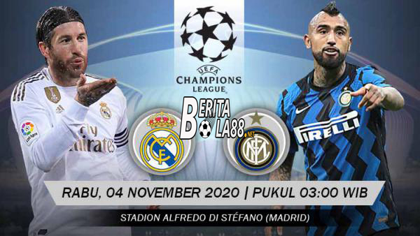 Prediksi Skor Real Madrid vs Inter Milan 4 November 2020